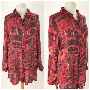 Chicos Linen Tunic Long Sleeve Button Front Blouse